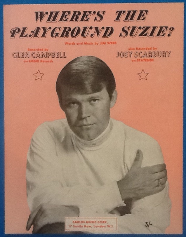 Glen Campbell Joey Scarbury Where's The Playground Suzi? Mint Sheet Music 1969