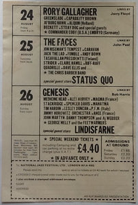 Genesis Faces Rory Gallagher Original 12th Reading Festival Handbill- Flyer 1973