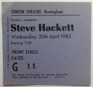 Steve Hackett Original Used Concert Ticket Birmingham 1983