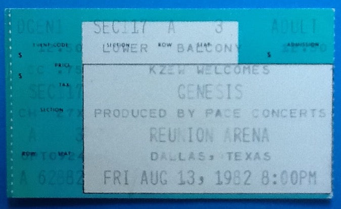 Genesis Original Used Concert Ticket Dallas 1982