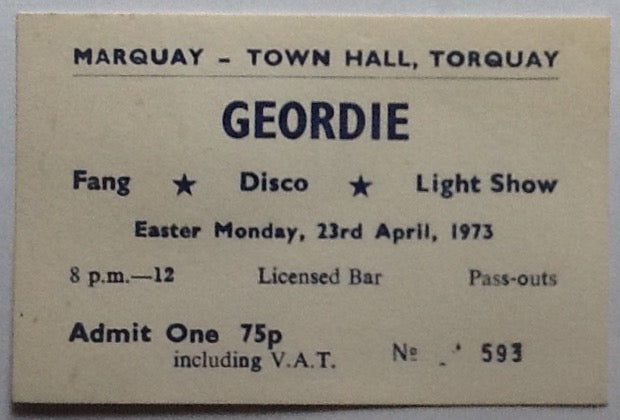 Geordie AC/DC Brian Johnson Original Concert Ticket Town Hall Torquay 1973