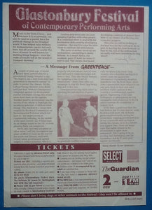 Blondie REM Fatboy Slim Original Concert Handbill Flyer Glastonbury 1999