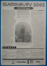 Load image into Gallery viewer, Coldplay Stereophonics Roger Waters Original Concert Handbill Flyer Glastonbury 2002