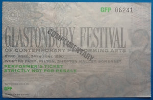 Cure Happy Mondays Original Concert Ticket Glastonbury Festival 1990