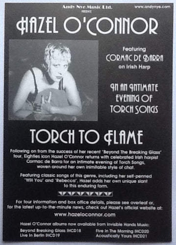 Hazel O' Connor Original Concert Handbill Flyer Torch To Flame Tour 2003