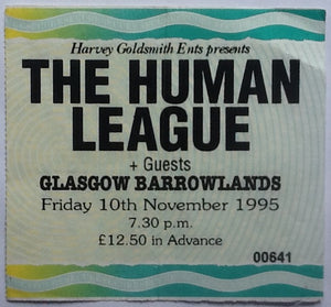 Human League Original Used Concert Ticket Barrowlands Glasgow 1995