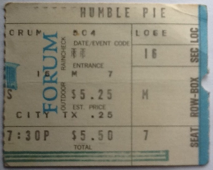 Humble Pie Original Used Concert Ticket Forum Los Angeles 1973