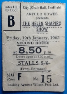 Helen Shapiro Brook Brothers Original Used Concert Ticket Sheffield 1962