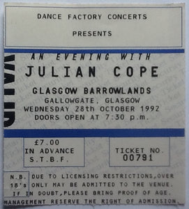 Julian Cope Original Used Concert Ticket Barrowlands Glasgow 1992