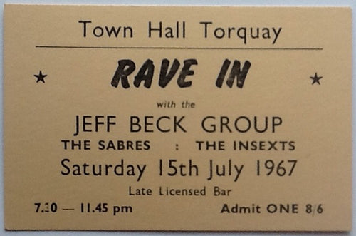 Jeff Beck Original Used Concert Ticket Torquay Town Hall 1967