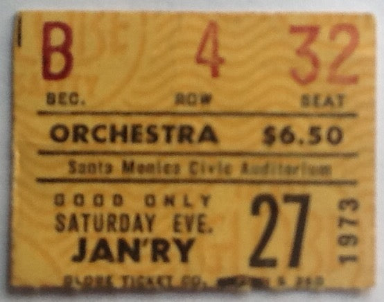 John Martyn Original Used Concert Ticket Santa Monica 1973