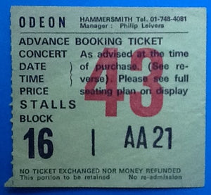 Kid Creole & the Coconuts Original Used Concert Ticket Hammersmith Odeon London 1982