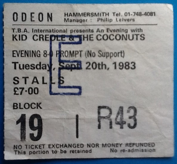 Kid Creole & the Coconuts Original Used Concert Ticket London 1983