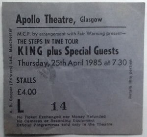 King Original Used Concert Ticket Apollo Theatre Glasgow 1985