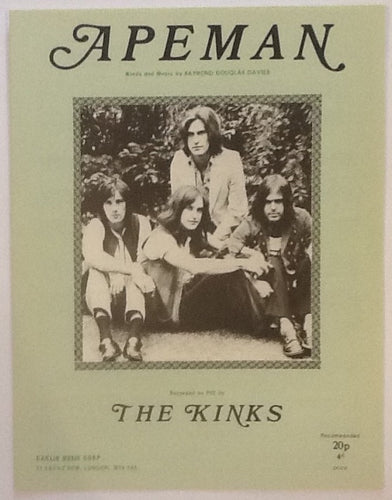 Kinks Apeman Original Mint Sheet Music 1970