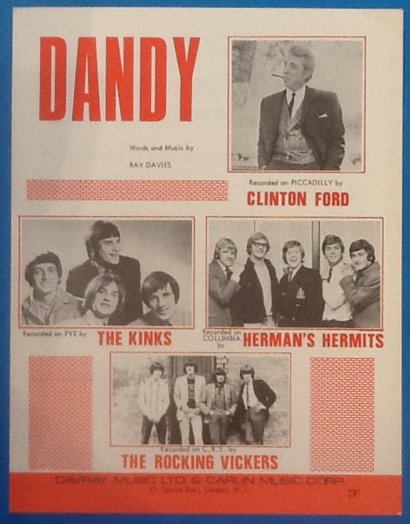 Kinks Clinton Ford Herman's Hermits Rocking Vickers Dandy Original Mint Sheet Music 1966