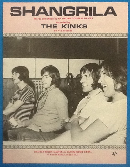 Kinks Shangrila Original Mint Sheet Music 1969