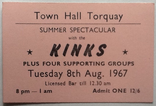 Kinks Original Concert Ticket Town Hall Torquay 1967