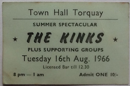 Kinks Original Concert Ticket Town Hall Torquay 1966
