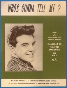 Lance Fortune Who's Gonna Tell Me? Original Mint Sheet Music 1961