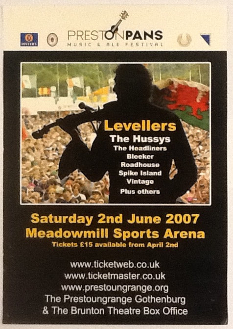 Levellers Headliners Original Concert Tour Poster Meadowmill East Lothian 2007