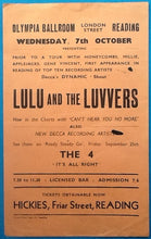 Load image into Gallery viewer, Lulu & the Luvvers The 4 Original Concert Handbill Flyer Reading 7th Oct 1964