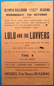 Lulu & the Luvvers The 4 Original Concert Handbill Flyer Reading 7th Oct 1964