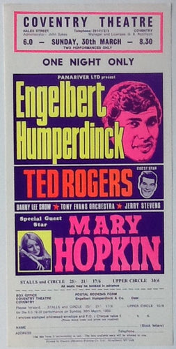 Mary Hopkin Engelbert Humperdinck Original Concert Handbill Flyer Coventry Theatre 1969