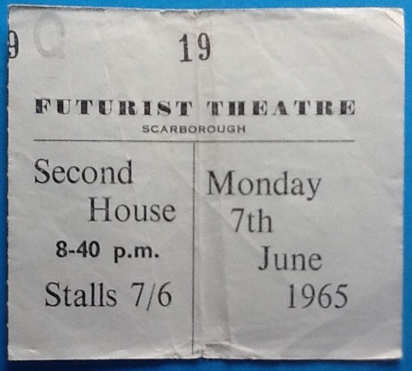Moody Blues Original Used Concert Ticket Scarborough 1965