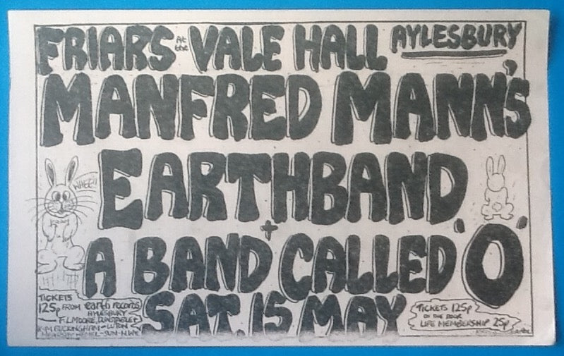 Manfred Mann's Earth Band Concert Handbill Flyer Friars Aylesbury 1976