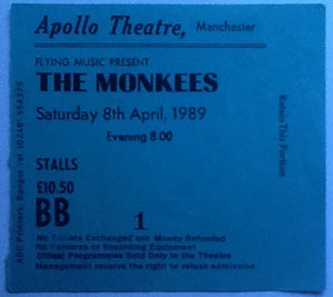 Monkees Original Used Concert Ticket Manchester 1989