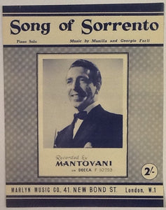 Mantovani Song of Sorrento Original Mint Sheet Music 1956