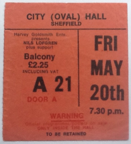 Nils Lofgren Original Used Concert Ticket City Hall Sheffield 20th May 1977
