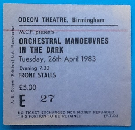 Orchestral Manoeuvres in the Dark Original Concert Ticket Birmingham 1983