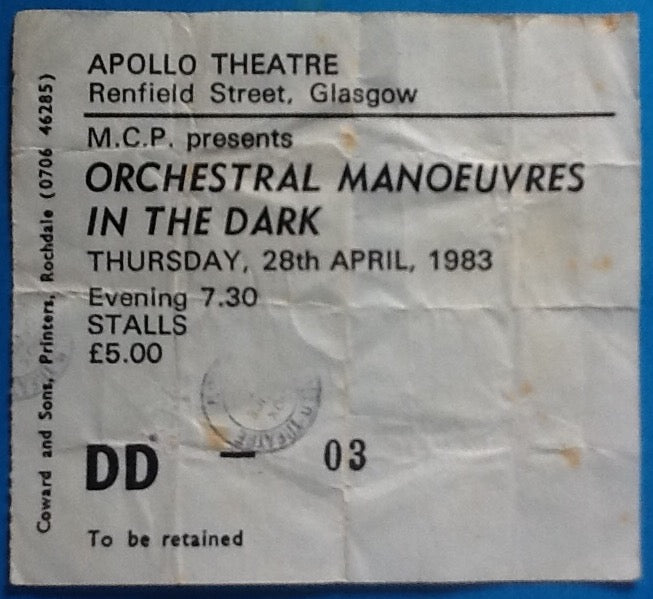 Orchestral Manoeuvres in the Dark OMD Original Used Concert Ticket Glasgow 1983
