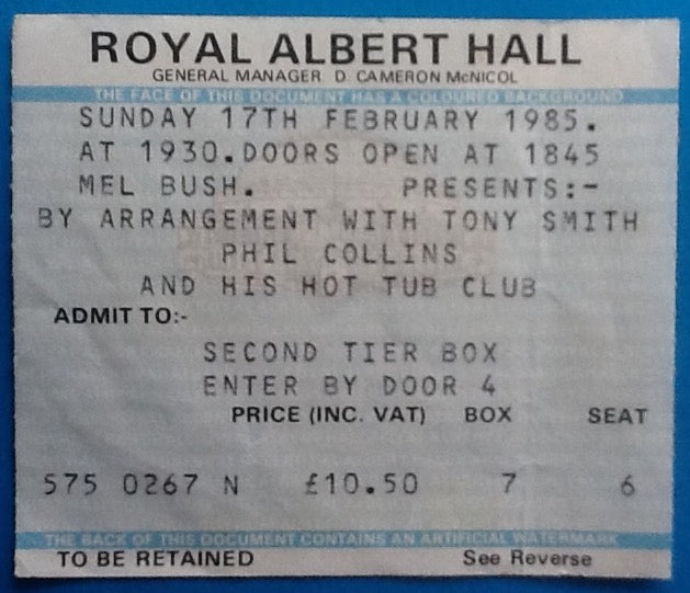 Phil Collins Original Used Concert Ticket Royal Albert Hall London 17th Feb 1985