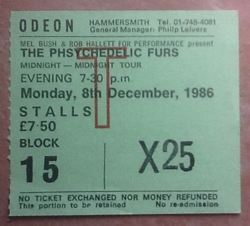 Phsychedelic Furs Used Concert Ticket London 1986