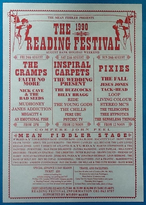 Pixies Inspiral Carpets Cramps Original Reading Festival Handbill Flyer 1990