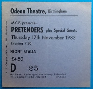 Pretenders Original Used Concert Ticket Birmingham 1983