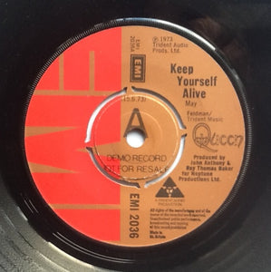 "Queen Keep Yourself Alive Rare 2 Track 7"" Demo Promo Vinyl Single UK 1973"