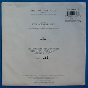 "Queen The Show Must Go On 2 Track 7"" Red Vinyl Single Picture Sleeve Italy 1994"