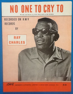 Ray Charles No One To Cry To Original Mint Sheet Music 1964