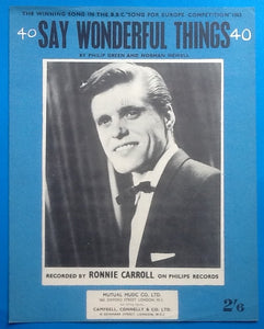 Ronnie Carroll Say Wonderful Things Sheet Music 1963