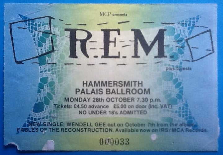 R.E.M. Original Used Concert Ticket Hammersmith London 1985