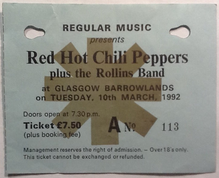 Red Hot Chili Peppers Original Used Concert Ticket Glasgow Barrowlands 1992