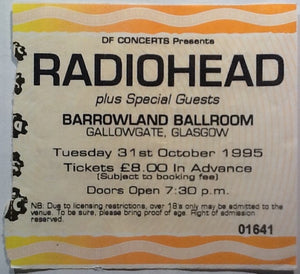 Radiohead Original Used Concert Ticket Glasgow Barrowland Ballroom 1995