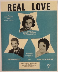 Ruby Murray Chas McDevitt Shirley Douglas Real Love Original Mint Sheet Music 1958