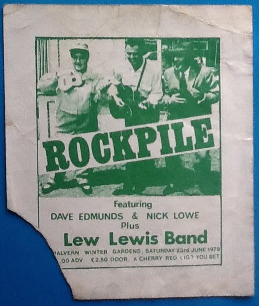 Rockpile Dave Edmunds Original Used Concert Ticket Malvern 1979
