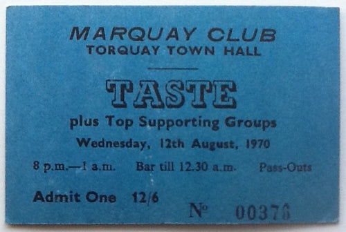 Taste Rory Gallagher Original Concert Ticket Marquay Club Town Hall Torquay 1970