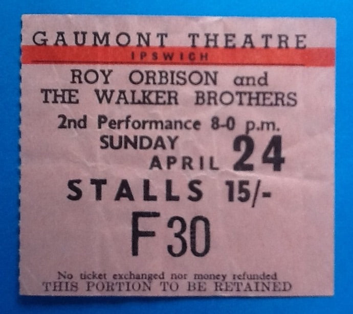 Roy Orbison Original Used Concert Ticket Gaumont Theatre Ipswich 24th April 1964
